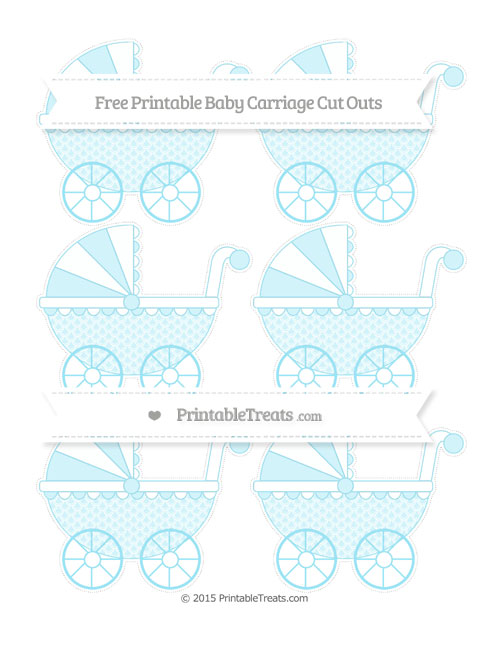 Free Pastel Aqua Blue Fish Scale Pattern Small Baby Carriage Cut Outs