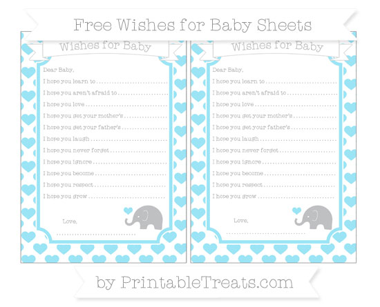 Free Pastel Aqua Blue Heart Pattern Baby Elephant Wishes for Baby Sheets