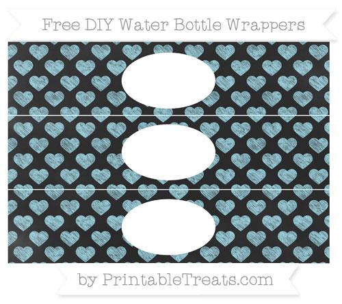 Free Pastel Aqua Blue Heart Pattern Chalk Style DIY Water Bottle Wrappers