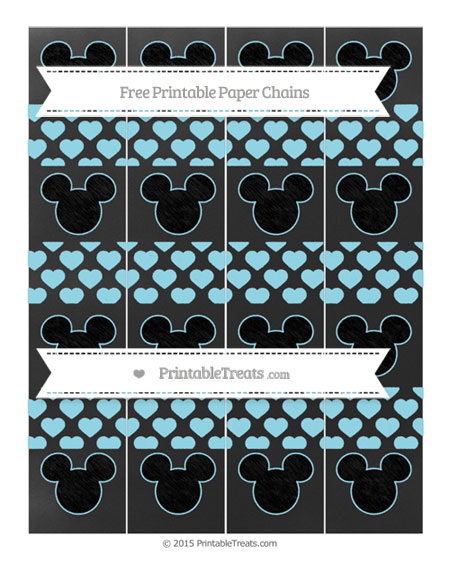 Free Pastel Aqua Blue Heart Pattern Chalk Style Mickey Mouse Paper Chains