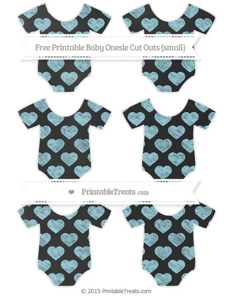 Free Pastel Aqua Blue Heart Pattern Chalk Style Small Baby Onesie Cut Outs