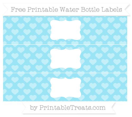 Free Pastel Aqua Blue Heart Pattern Water Bottle Labels