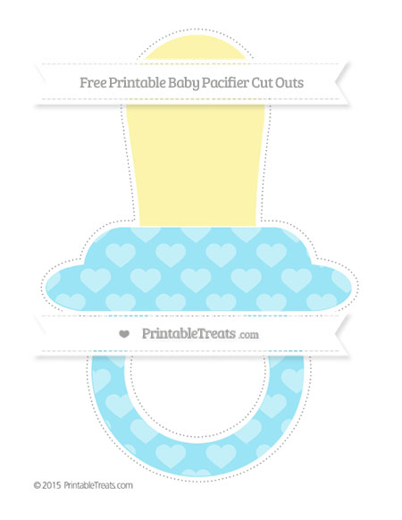 Free Pastel Aqua Blue Heart Pattern Extra Large Baby Pacifier Cut Outs