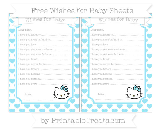 Free Pastel Aqua Blue Heart Pattern Hello Kitty Wishes for Baby Sheets