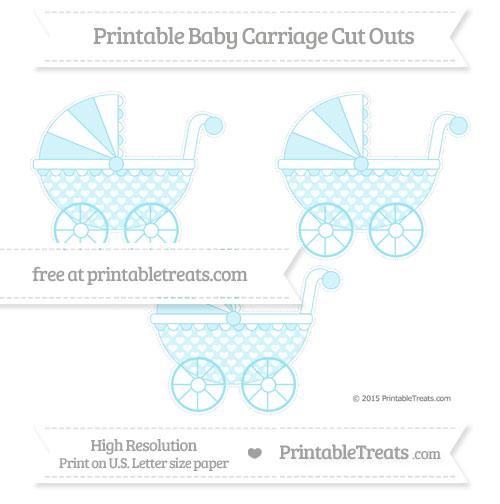 Free Pastel Aqua Blue Heart Pattern Medium Baby Carriage Cut Outs