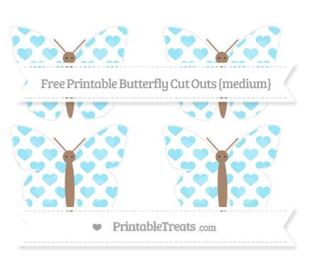 Free Pastel Aqua Blue Heart Pattern Medium Butterfly Cut Outs
