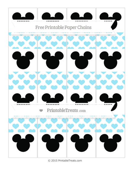 Free Pastel Aqua Blue Heart Pattern Mickey Mouse Paper Chains