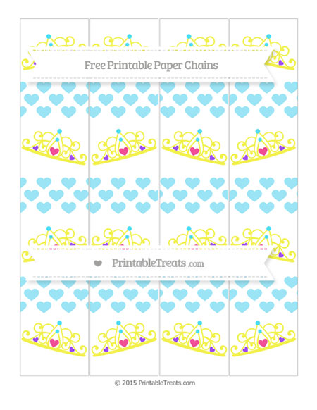 Free Pastel Aqua Blue Heart Pattern Princess Tiara Paper Chains