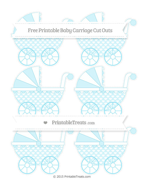 Free Pastel Aqua Blue Heart Pattern Small Baby Carriage Cut Outs