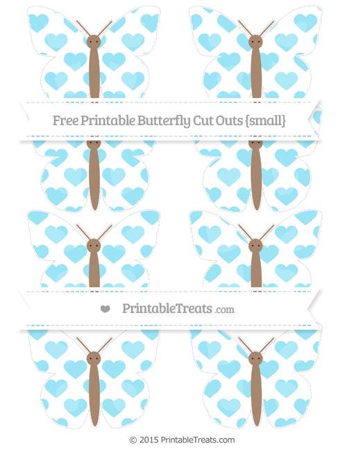 Free Pastel Aqua Blue Heart Pattern Small Butterfly Cut Outs