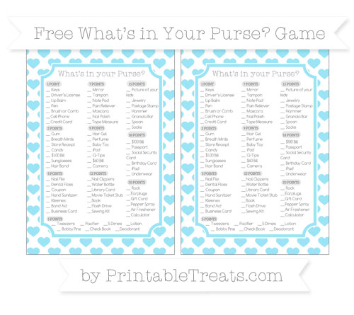Free Pastel Aqua Blue Heart Pattern What's in Your Purse Baby Shower Game
