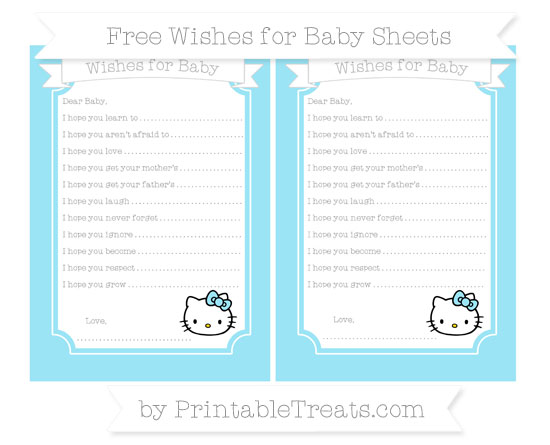 Free Pastel Aqua Blue Hello Kitty Wishes for Baby Sheets