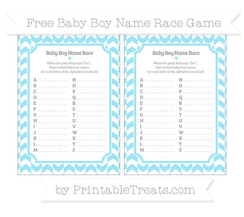 Free Pastel Aqua Blue Herringbone Pattern Baby Boy Name Race Game
