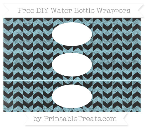 Free Pastel Aqua Blue Herringbone Pattern Chalk Style DIY Water Bottle Wrappers