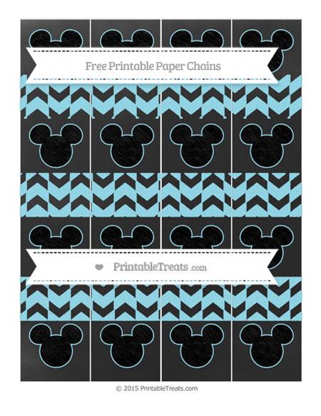 Free Pastel Aqua Blue Herringbone Pattern Chalk Style Mickey Mouse Paper Chains