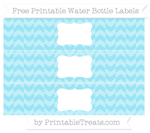 Free Pastel Aqua Blue Herringbone Pattern Water Bottle Labels