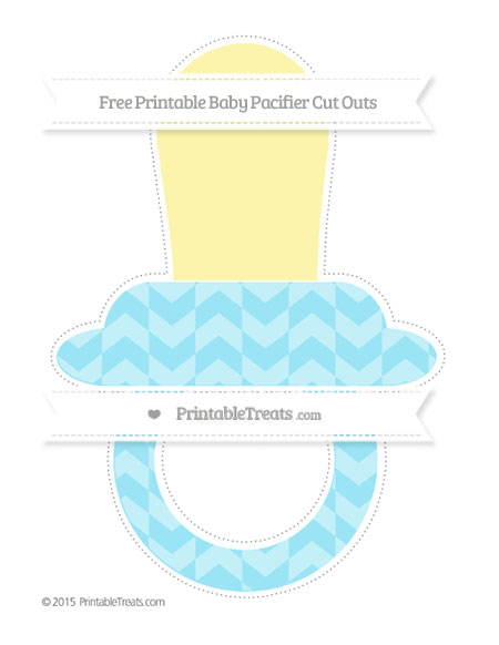 Free Pastel Aqua Blue Herringbone Pattern Extra Large Baby Pacifier Cut Outs