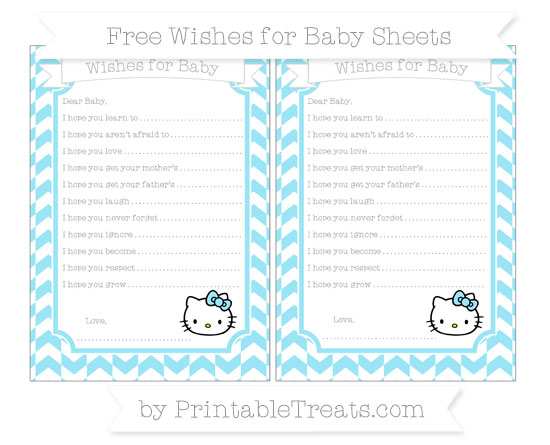 Free Pastel Aqua Blue Herringbone Pattern Hello Kitty Wishes for Baby Sheets