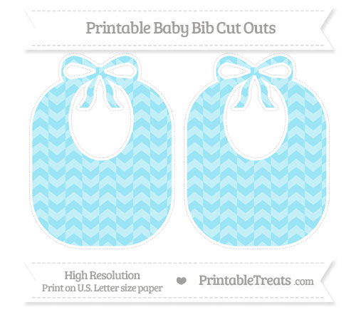 Free Pastel Aqua Blue Herringbone Pattern Large Baby Bib Cut Outs