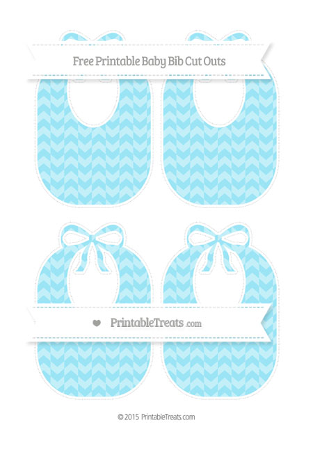 Free Pastel Aqua Blue Herringbone Pattern Medium Baby Bib Cut Outs
