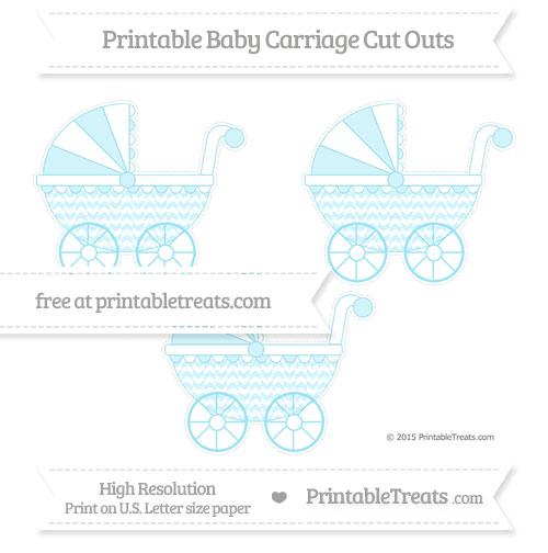 Free Pastel Aqua Blue Herringbone Pattern Medium Baby Carriage Cut Outs