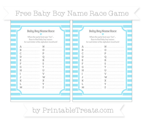 Free Pastel Aqua Blue Horizontal Striped Baby Boy Name Race Game