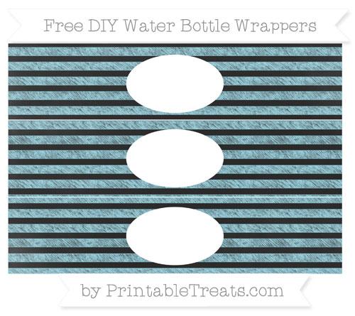 Free Pastel Aqua Blue Horizontal Striped Chalk Style DIY Water Bottle Wrappers