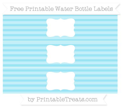 Free Pastel Aqua Blue Horizontal Striped Water Bottle Labels