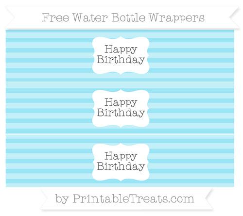Free Pastel Aqua Blue Horizontal Striped Happy Birhtday Water Bottle Wrappers