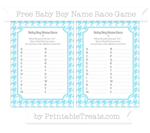 Free Pastel Aqua Blue Houndstooth Pattern Baby Boy Name Race Game