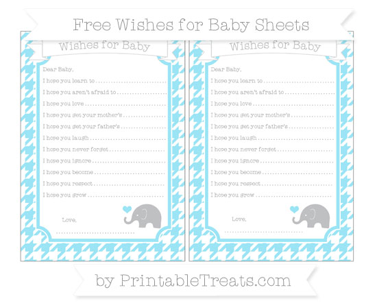 Free Pastel Aqua Blue Houndstooth Pattern Baby Elephant Wishes for Baby Sheets
