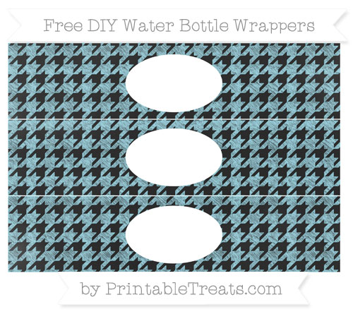 Free Pastel Aqua Blue Houndstooth Pattern Chalk Style DIY Water Bottle Wrappers