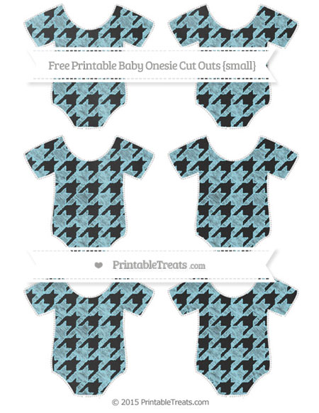Free Pastel Aqua Blue Houndstooth Pattern Chalk Style Small Baby Onesie Cut Outs