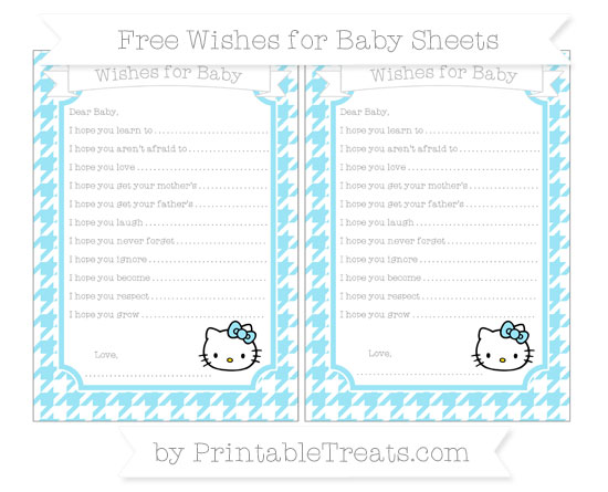 Free Pastel Aqua Blue Houndstooth Pattern Hello Kitty Wishes for Baby Sheets