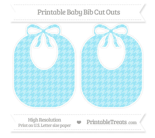 Free Pastel Aqua Blue Houndstooth Pattern Large Baby Bib Cut Outs