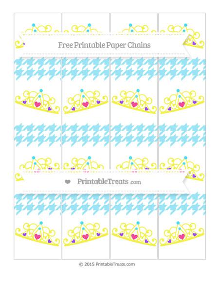 Free Pastel Aqua Blue Houndstooth Pattern Princess Tiara Paper Chains