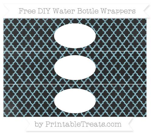 Free Pastel Aqua Blue Moroccan Tile Chalk Style DIY Water Bottle Wrappers