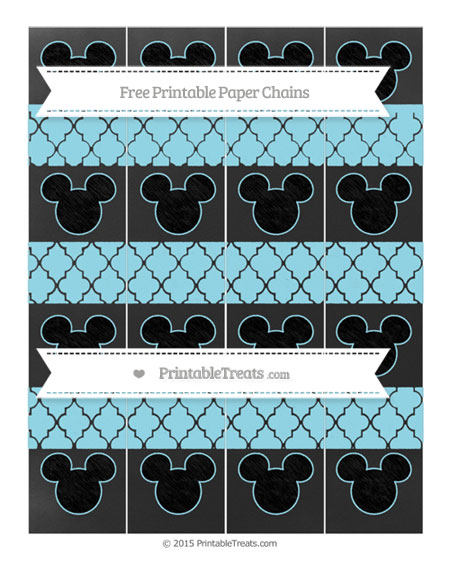 Free Pastel Aqua Blue Moroccan Tile Chalk Style Mickey Mouse Paper Chains
