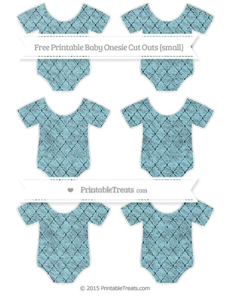 Free Pastel Aqua Blue Moroccan Tile Chalk Style Small Baby Onesie Cut Outs
