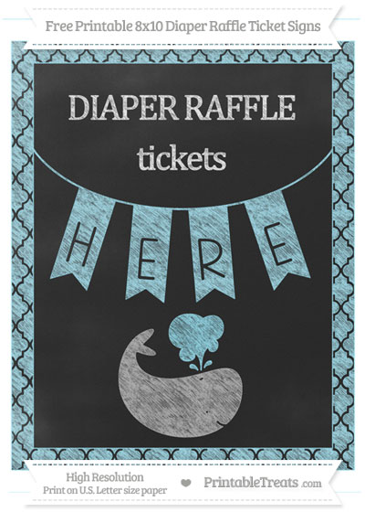 Free Pastel Aqua Blue Moroccan Tile Chalk Style Whale 8x10 Diaper Raffle Ticket Sign