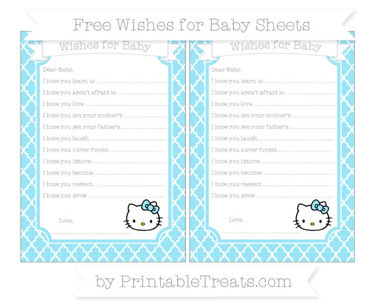 Free Pastel Aqua Blue Moroccan Tile Hello Kitty Wishes for Baby Sheets