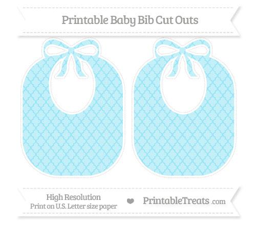 Free Pastel Aqua Blue Moroccan Tile Large Baby Bib Cut Outs