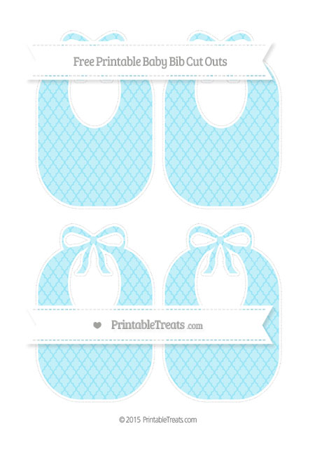 Free Pastel Aqua Blue Moroccan Tile Medium Baby Bib Cut Outs