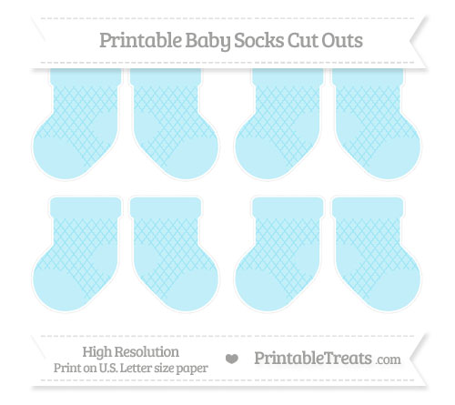 Free Pastel Aqua Blue Moroccan Tile Small Baby Socks Cut Outs