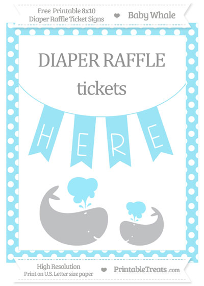 Free Pastel Aqua Blue Polka Dot Baby Whale 8x10 Diaper Raffle Ticket Sign
