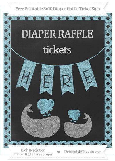 Free Pastel Aqua Blue Polka Dot Chalk Style Baby Whale 8x10 Diaper Raffle Ticket Sign