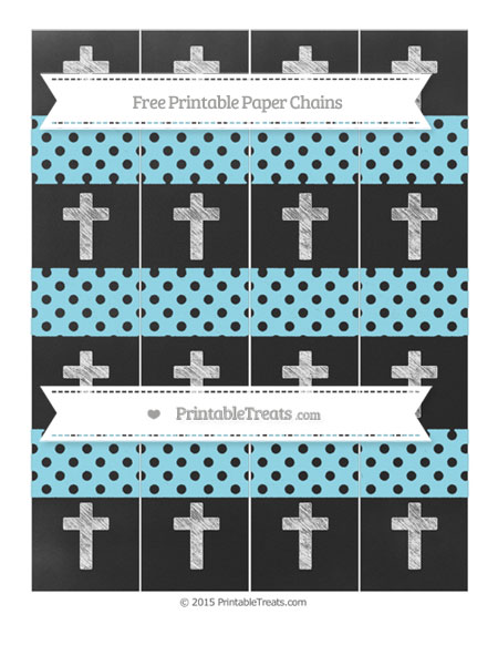 Free Pastel Aqua Blue Polka Dot Chalk Style Cross Paper Chains