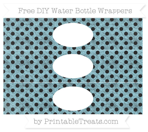 Free Pastel Aqua Blue Polka Dot Chalk Style DIY Water Bottle Wrappers