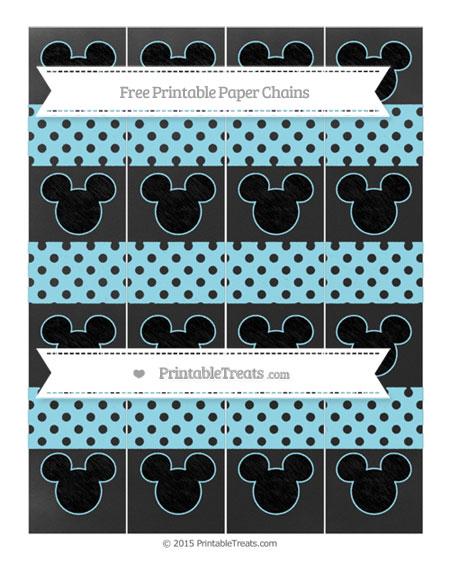 Free Pastel Aqua Blue Polka Dot Chalk Style Mickey Mouse Paper Chains