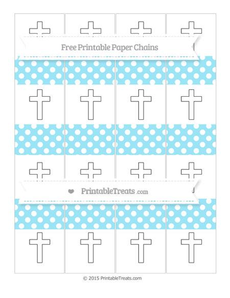 Free Pastel Aqua Blue Polka Dot Cross Paper Chains